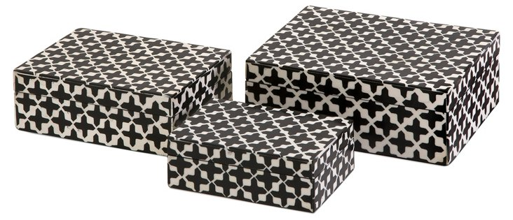 Asst. of 3 Liz Bone Boxes, Black/White