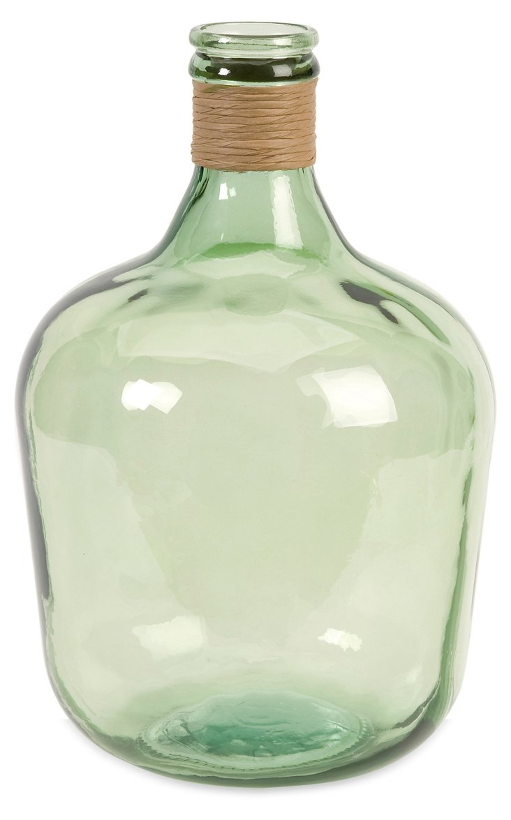 """17"""" Recycled-Glass Jug, Olive Green"""