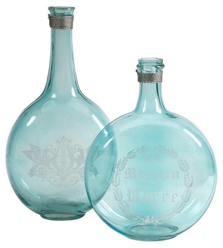 Asst. of 2 Kate Glass Bottles, Green