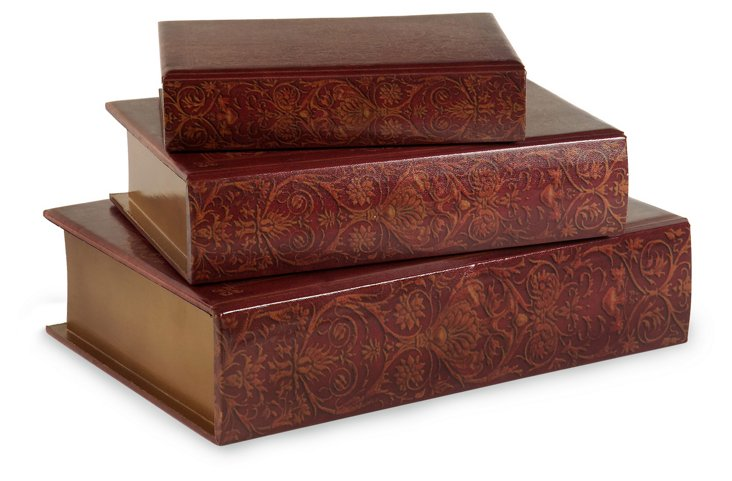Asst. of 3 Nesting Wooden Book Boxes