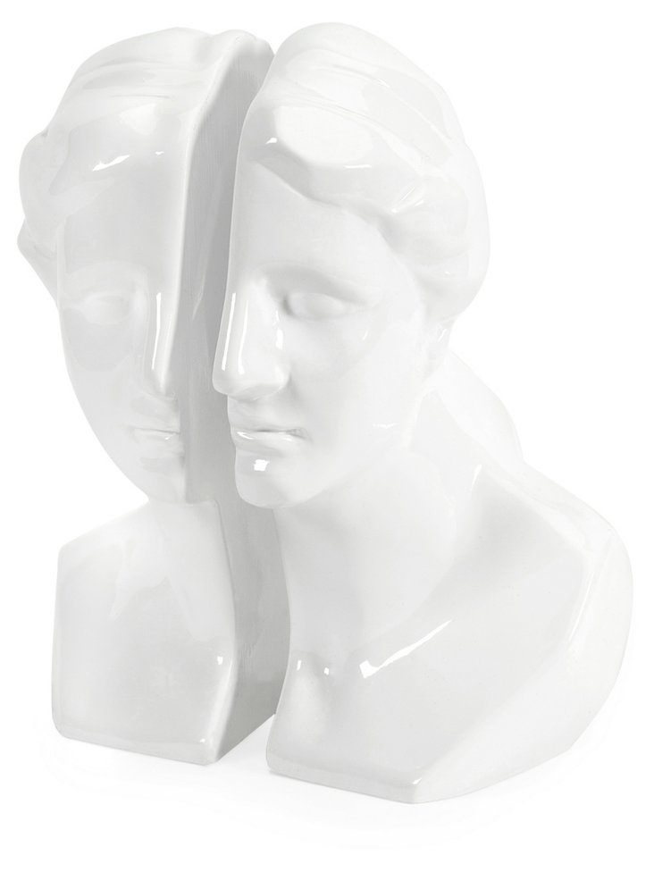 Portrait Bust Bookends, White