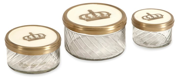 Asst. of 3 Crown Glass Jars, Clear/Multi