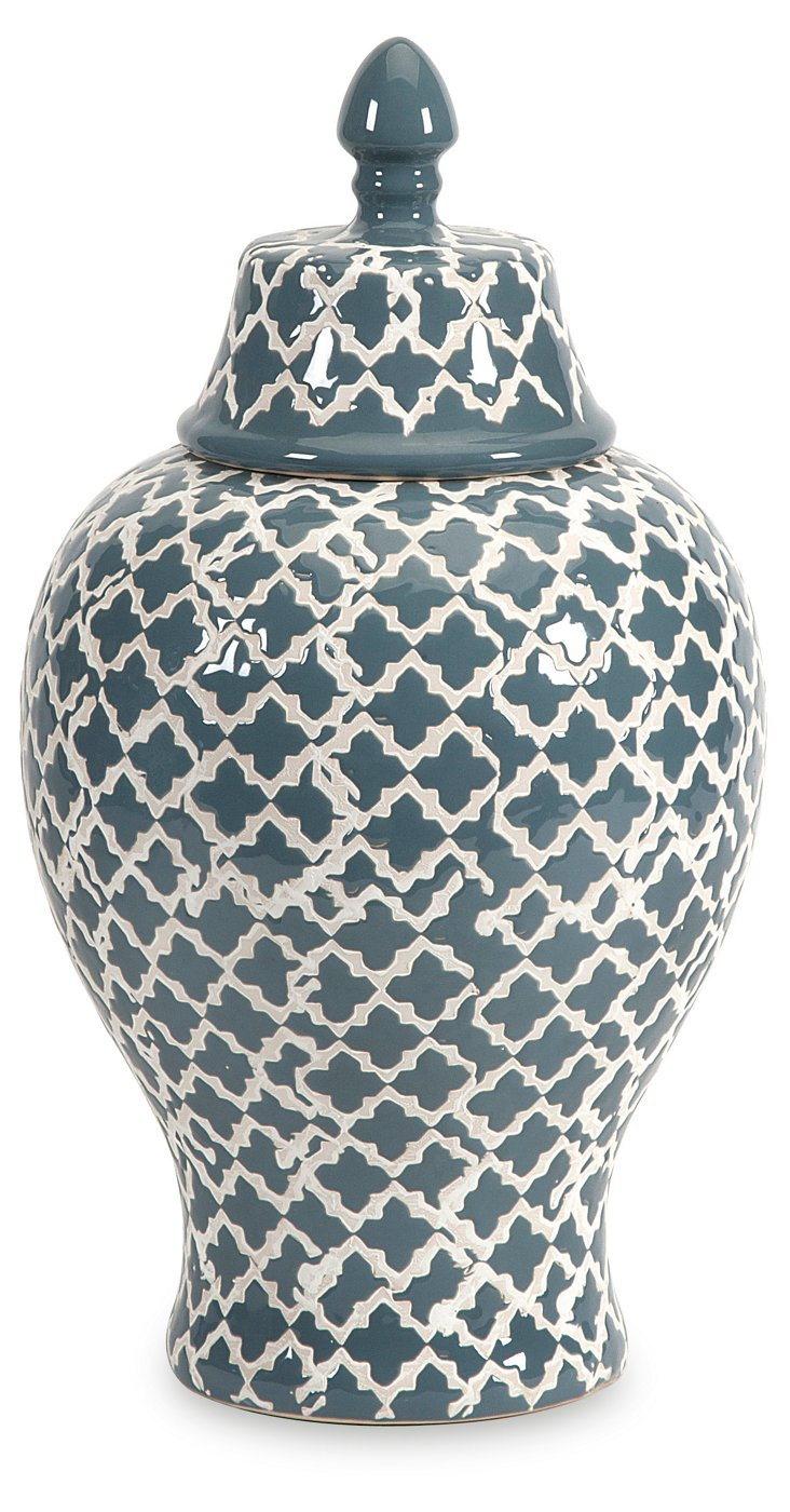 "14"" Ginger Jar Urn, Blue"