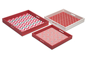 Asst. of 3 Essentials Trays, Coral