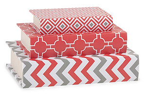 Asst. of 3 Essentials Book Boxes, Coral