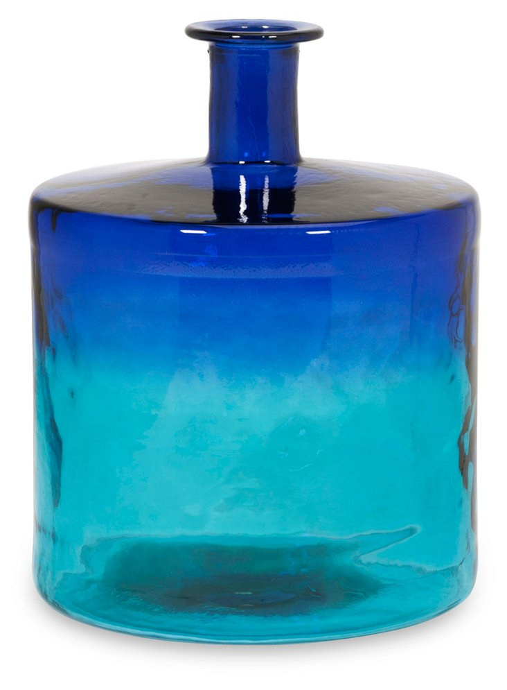 "18"" Luzo Recycled-Glass Vase, Blue"