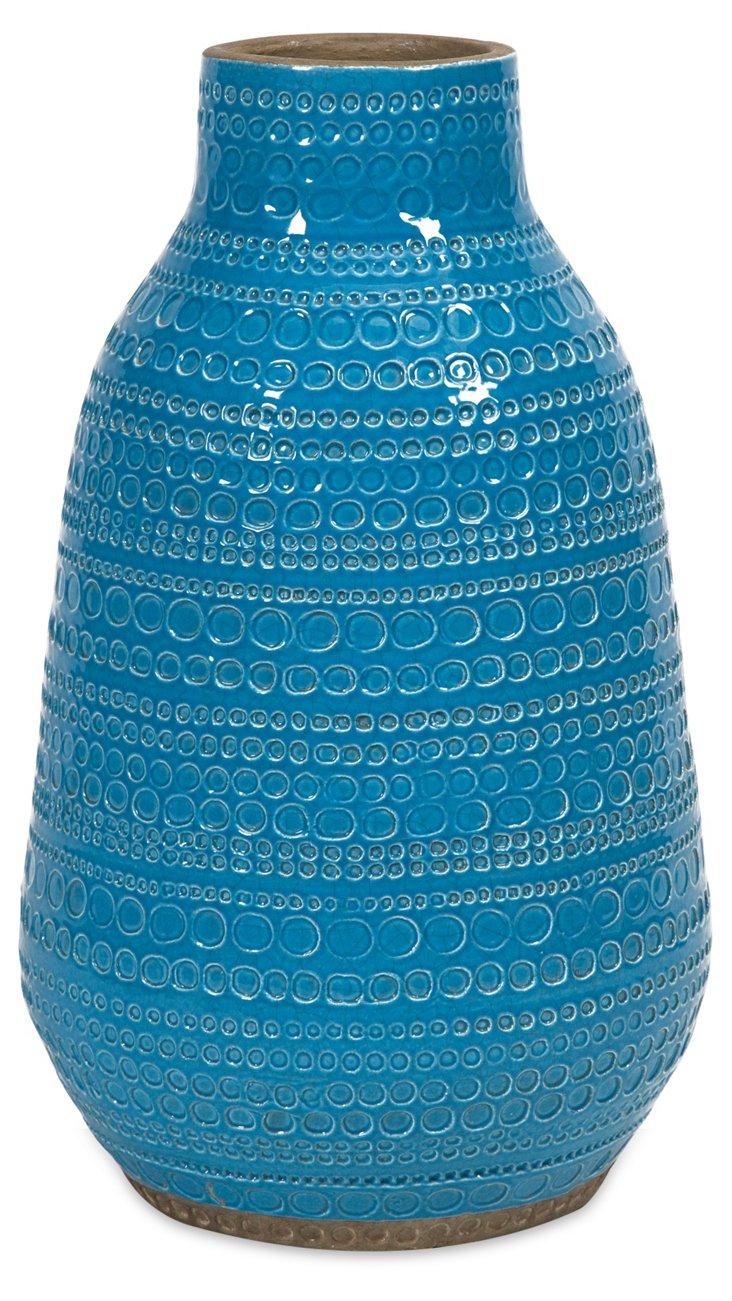 """16"""" Embree Vase, Turquoise"""