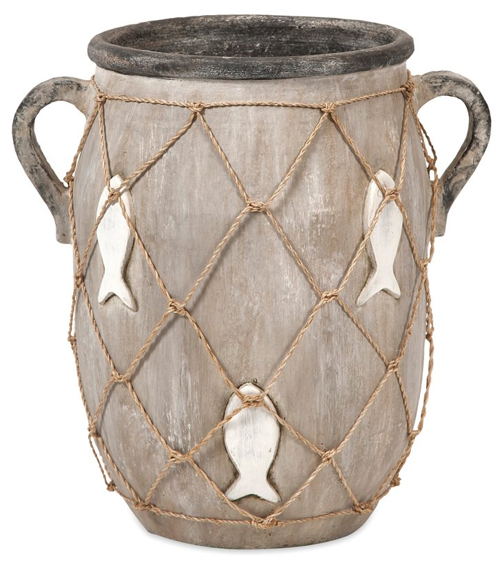 "13"" Fishnet Vase, Gray"