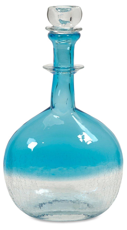 """12"""" Agio Glass Bottle w/ Stopper, Blue"""