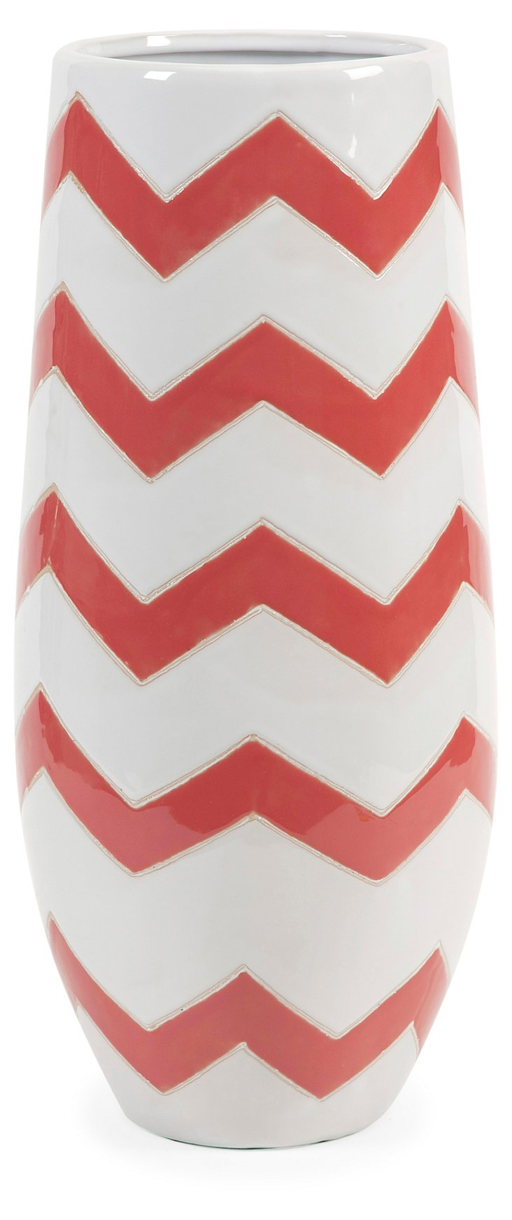 "20"" Sorbet Chevron Vase, Orange/White"