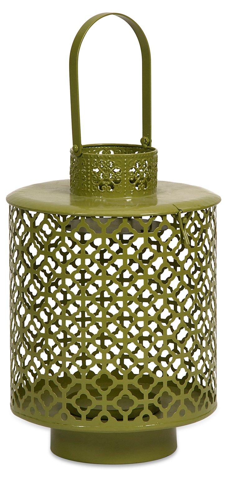 """12"""" Cutwork Lantern, Olive"""
