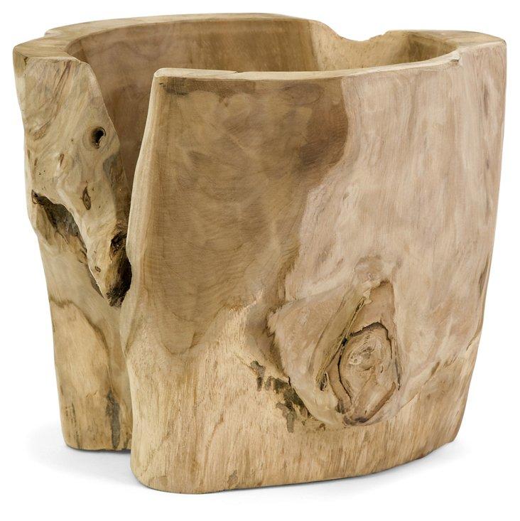 """12"""" Teak Vase, Brown"""