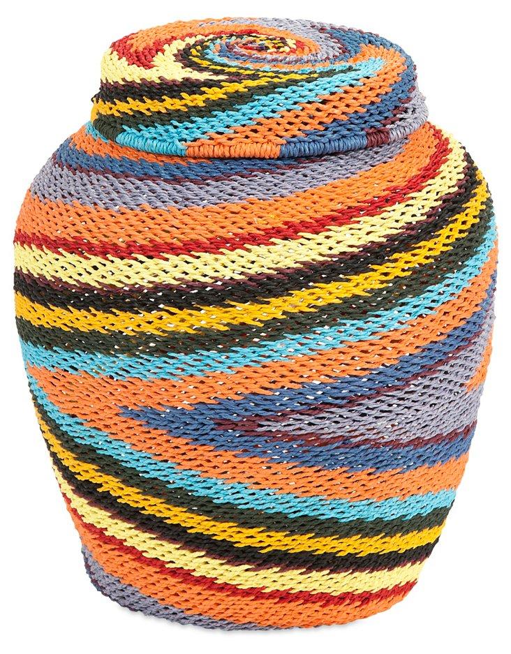 """32"""" Saran Lidded Basket, Orange/Gray"""