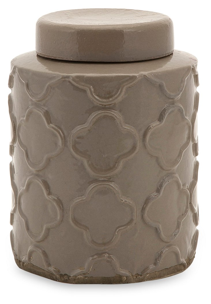 "8"" Quatrefoil Canister, Taupe"