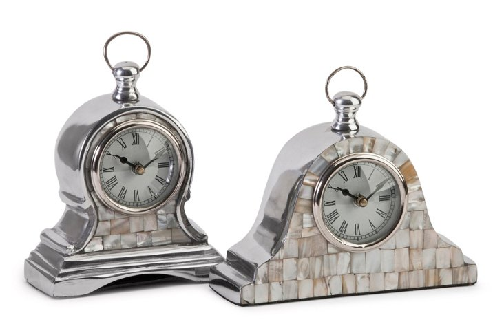 Asst. of 2 Mother-of-Pearl Clocks
