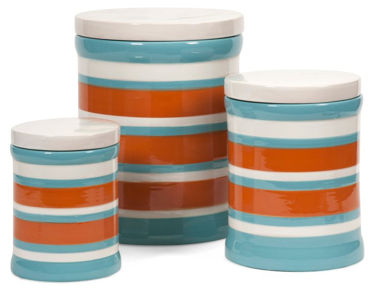 Asst. of 3 Miles Striped Canisters