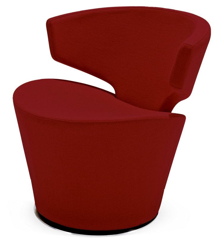 Dijon Wool Accent Chair, Red