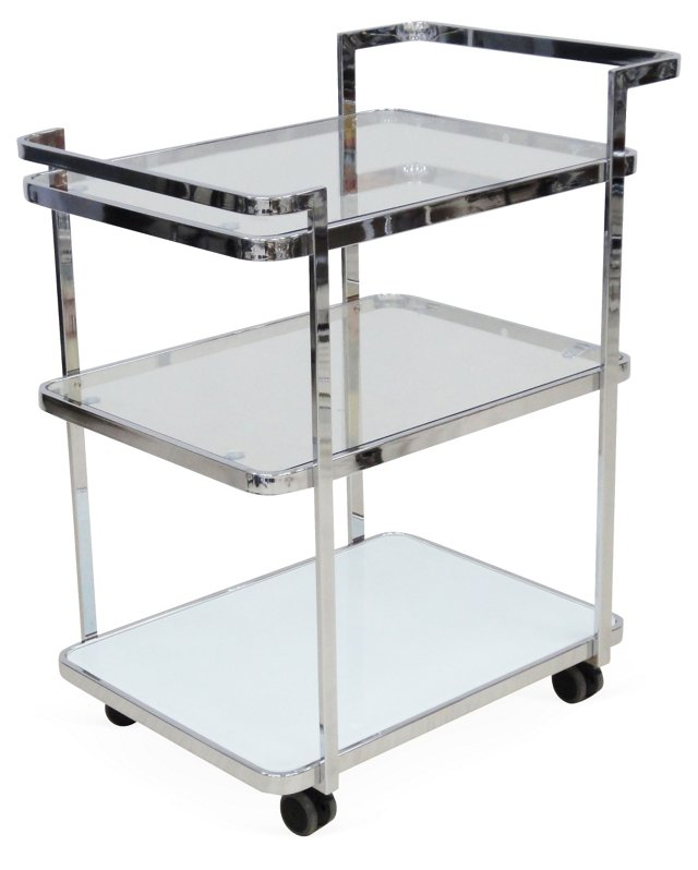 Ferrara Glass Bar Cart, Silver