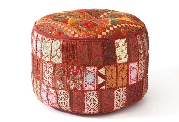Patchwork Pouf, Red