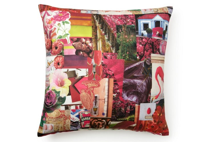 Charlotte Moss Collage Pillow - Pink