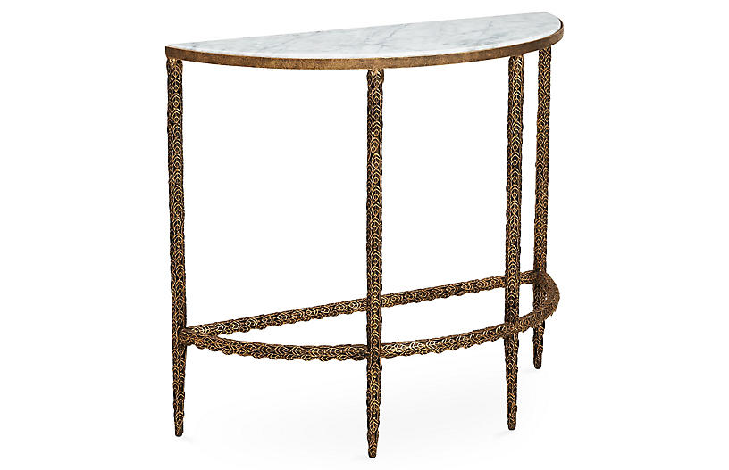 Vale Marble-Top Demilune, Burnished Gold