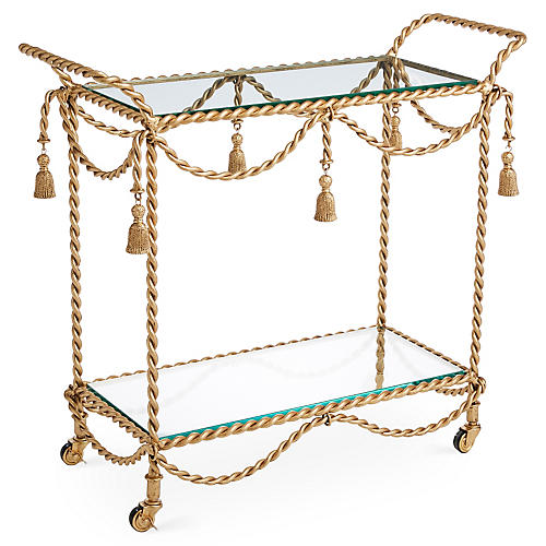 Hyannis Bar Cart, Antiqued Gold
