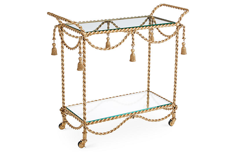 Hyannis Bar Cart, Antiqued Gold