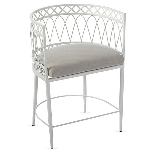 Linden Curved Armchair, White/Gray Sunbrella