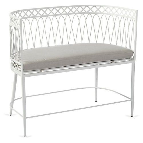 Linden Bench, White/Gray Sunbrella