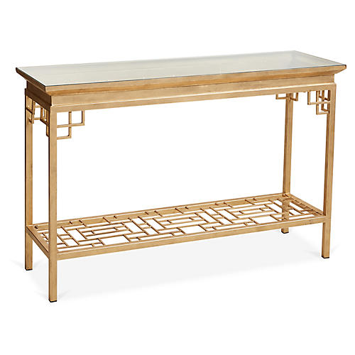 Larkspur Console, Antiqued Gold