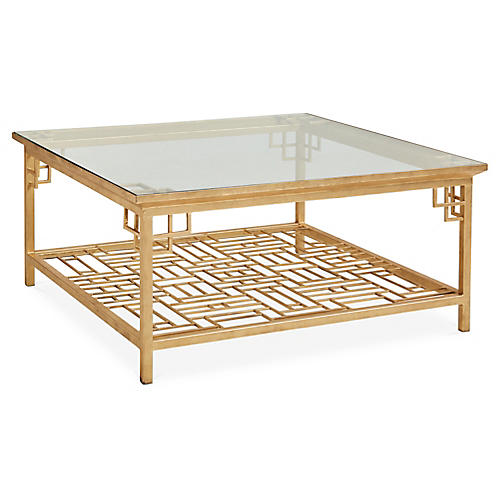 Larkspur Coffee Table, Antiqued Gold