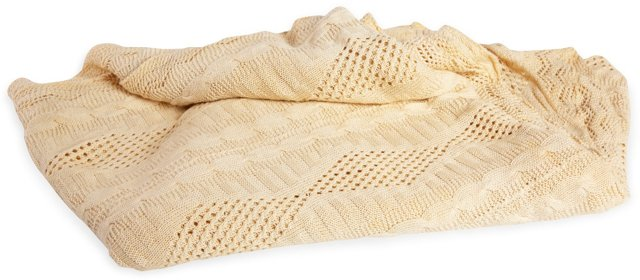 Ivory Cable-Knit Spread, Full