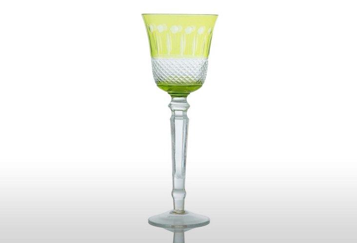S/6 Glam Wine Glasses, Lime