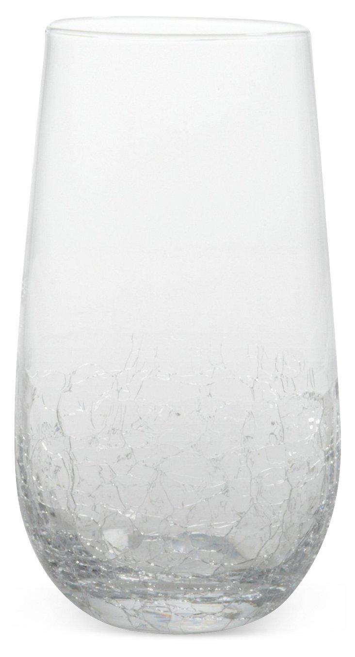 S/4 Crackle Highball Glasses