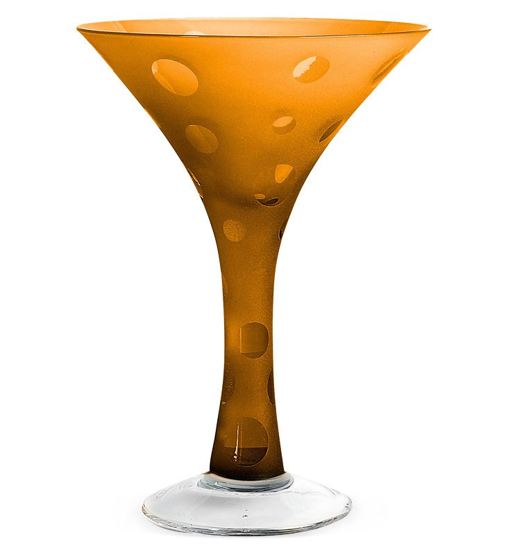 S/4 Dot Martini Glasses, Amber