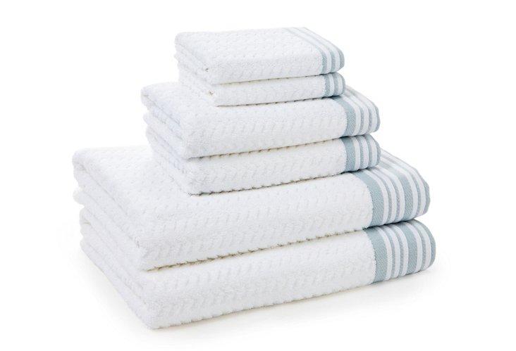 6-Pc Provence Towel Set, Seamist