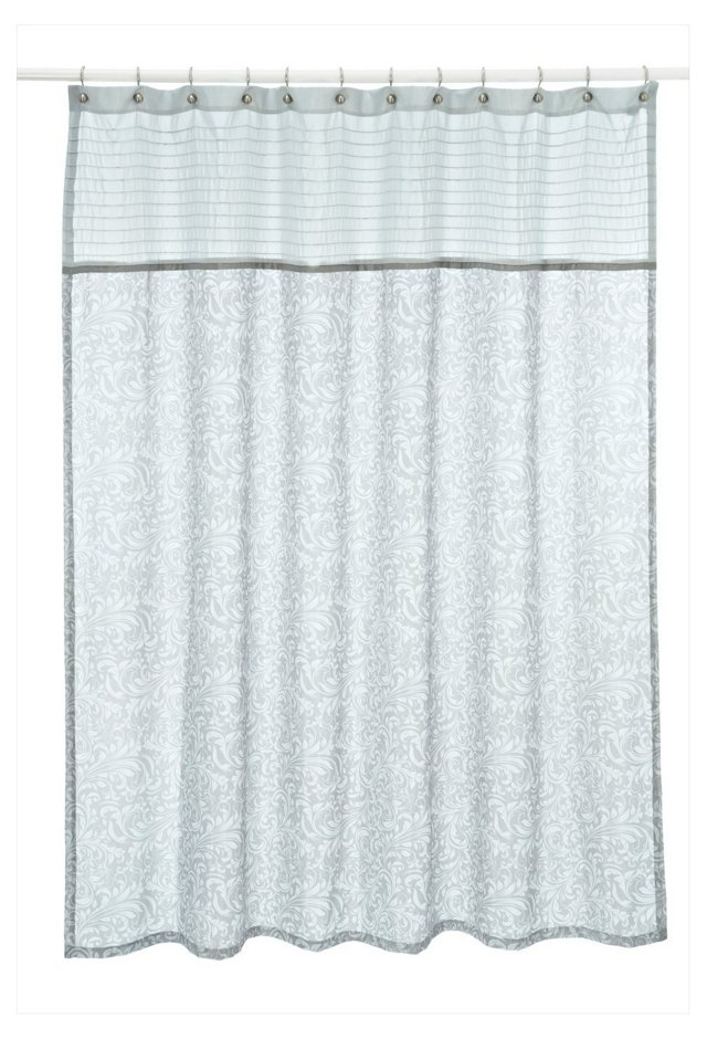 Bedminster Scroll Shower Curtain, Gray