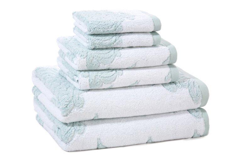 6-Pc Roma Towel Set, Seafoam
