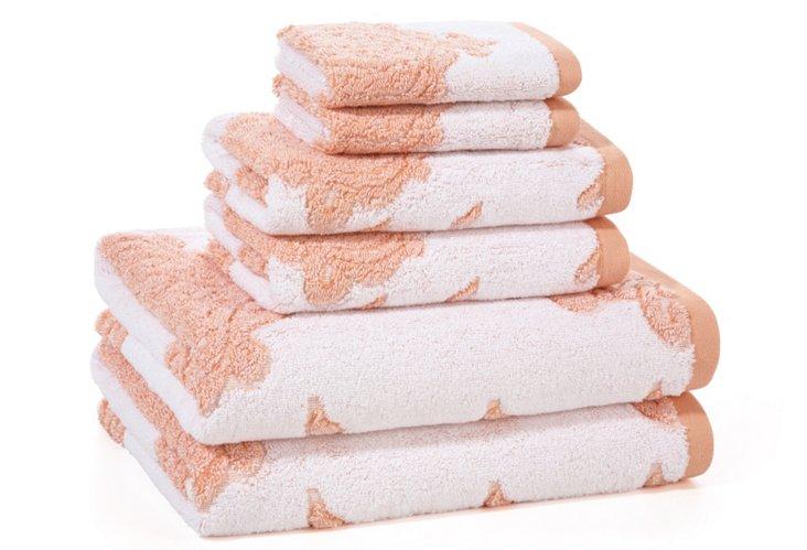 6-Pc Roma Towel Set, Coral