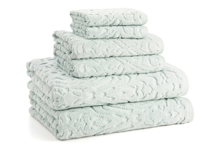 6-Pc Firenze Towel Set, Sky Blue