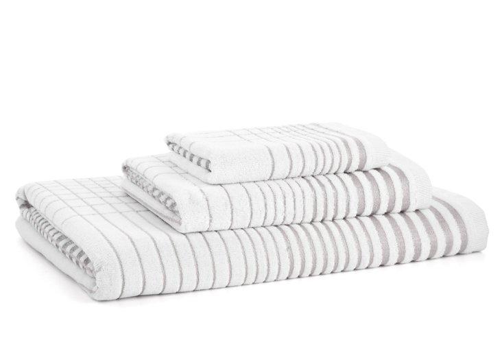 3-Pc Crosby Towel Set, Silver