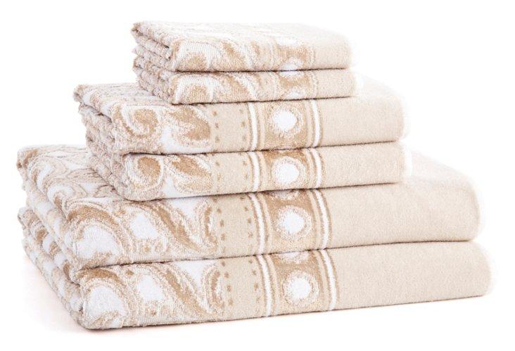 6-Pc Medici Towel Set, Champagne