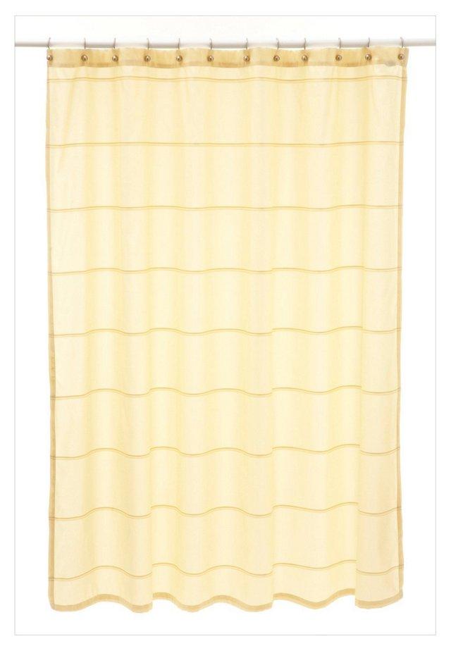 Mar-A-Lago Stripe Shower Curtain, Cream