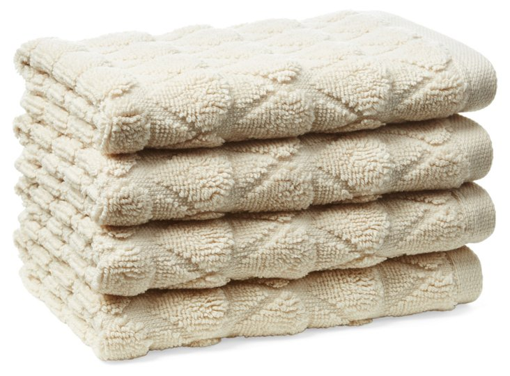 S/4 Bristol Washcloths, Cream