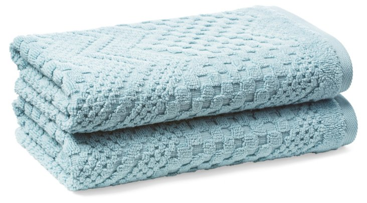 S/2 Chateau Hand Towels, Cameo Blue
