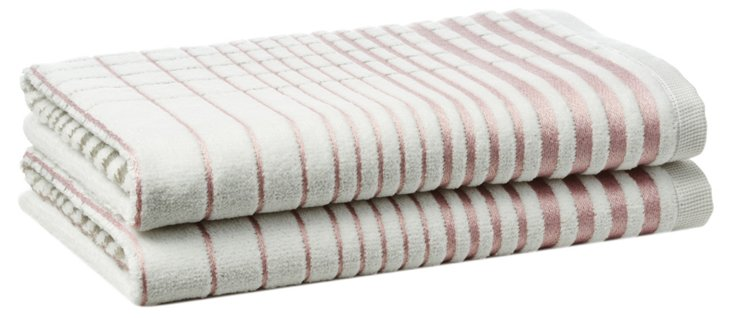 S/2 Crosby Hand Towels, Blush