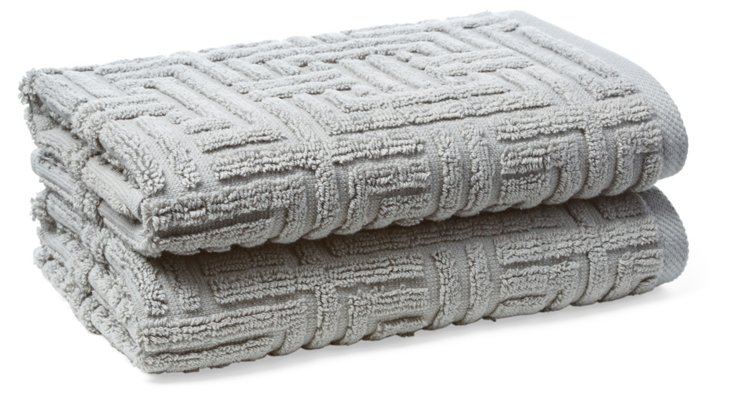 S/2 Vegas Geo Hand Towels, Anthracite