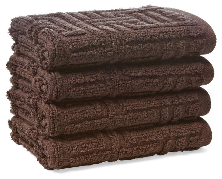 S/4 Vegas Geo Washcloths, Chocolate
