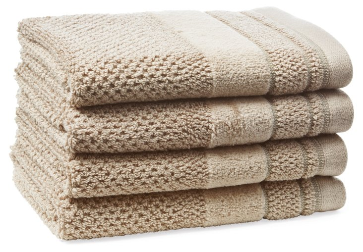 S/4 Textures Washcloths, Taupe
