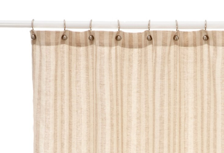 Linen Chevron Shower Curtain, Flax